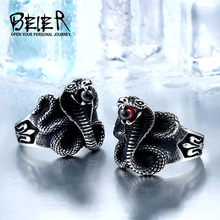 BEIER Cobra Red Stone Snake Ring Factory Price Stainless Titanium Steel Punk Heavy Metal Animal Jewelry BR8-216(China)