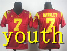 Nike 2017 Youth USC Trojans Matt Barkley 7 Red Pac-12 C Patch College Ice Hockey Jersey Size S,M,L,XL(China)