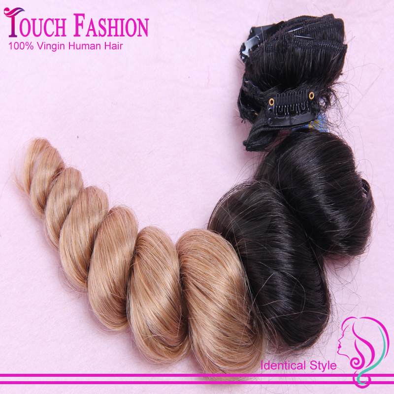 New Arrival Bouncy Romance Ombre Clip In Hair Extensions Curly Remy Human Hair Clip In Hair ExtensionIns 1B/#27 Blonde Hair<br><br>Aliexpress