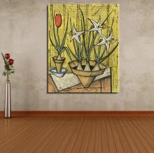Daffodils and tulips in pots Flower Modern Bernard Buffet Frameless Canvas Unframed Oil Painting Spray drawing Artist art