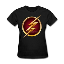 Cheap Wholesale Female America The Flash Logo Tee Shirt O Neck Brand For Womens Natural Cotton Clothing