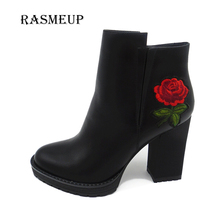 RASMEUP High Heel Flower Embroidery Ankle Boots Fashion Black Square Heel Leather Shoes Zipper Short Plush Winter Autumn Boots(China)