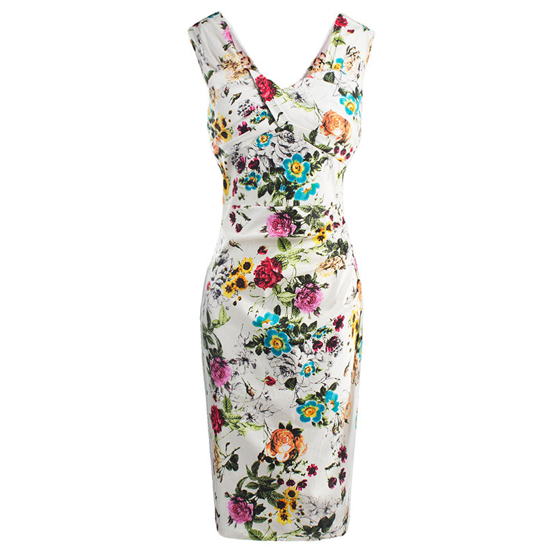 2017 Summer Women Bodycon Dress V Neck Tank Print Flower White Floral Sexy Dress Sleeveless Female Sheath Spring Bodycon Dresses