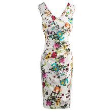 Buy 2017 Summer Women Bodycon Dress V Neck Tank Print Flower White Floral Sexy Dress Sleeveless Female Sheath Spring Bodycon Dresses for $16.82 in AliExpress store