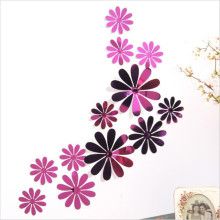 New 12pcs/lot 8 colors flowers PVC 3D wall sticker home Art Wall Decor Bedroom Living room TV Background Decorative decals