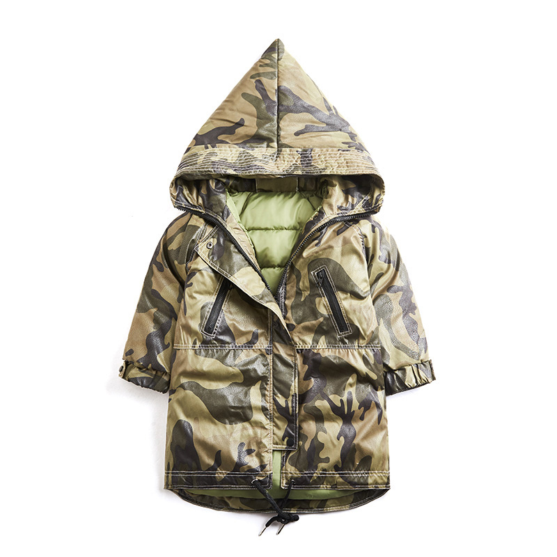Fashion Children Hooded Jackets Boys Camouflage Zipper Windbreaker Long Sleeve Casual Jacket For Kids Thick Winter Warm Coats<br>
