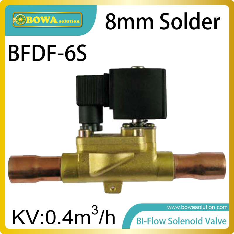 8mm solder type Bi-flow solenoid valves allows coolant flows in two directions for defrosting or constant temperature<br>