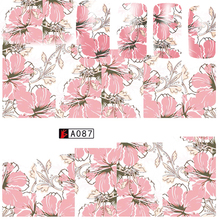 1 Sheets 2017 Beauty Flower Wraps Nail Sticker Water Transfer Pink Blossom Lotus Sticker Decals Beauty DIY for Nail Art TRA087