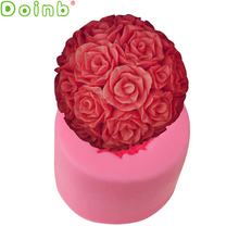 3D Flower Ball Bouquet Fondant Cake Silicone Mold Sugar Craft Cake Decorating Tools Soap Candle Moulds(China)