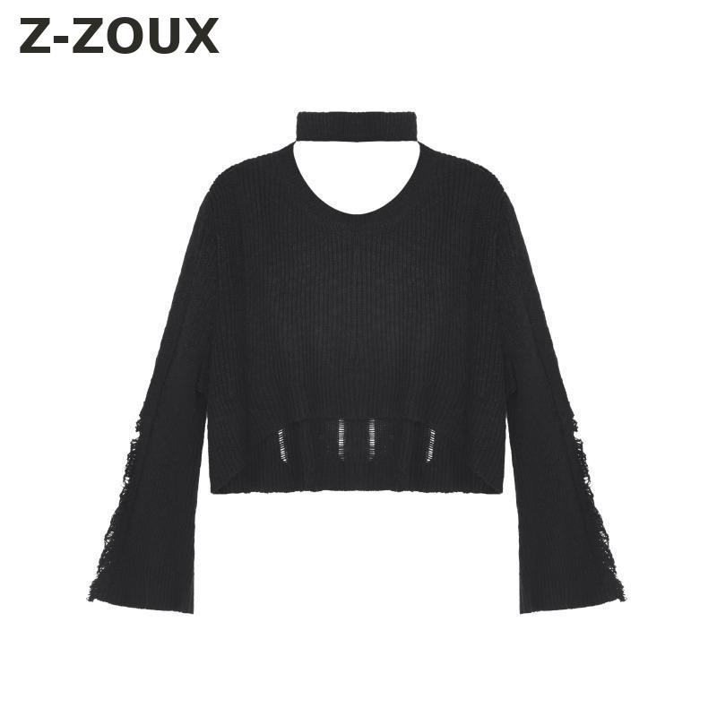 Z-ZOUX Women Sweater Hole Flare Sleeve Knitted Pullover Vintage All Match Women Tops Loose Winter Coat Women Sweaters 2018