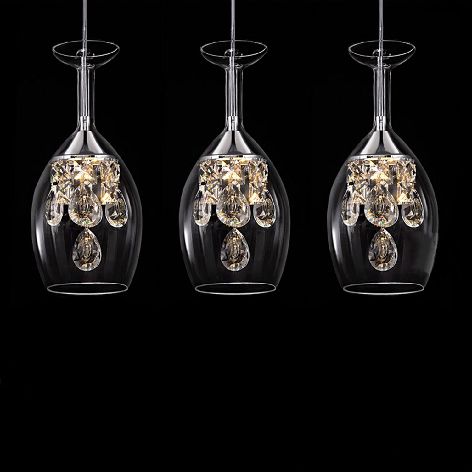 Modern fashion dining room K9 Crystal 5w LED Chandelier lamp DIY home deco living room clear glass cup Chandeliers light Fixture<br>