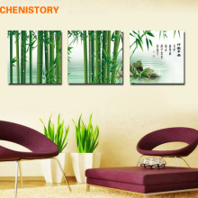 Unframed 3 Panel Green Bamboo Chinese Painting Modern Art Print Painting Home Wall Decor For Living Room Unique Wall Artwork