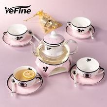 YeFine Top Grade Bone China Flower Tea Pot Cup Set European Style Ceramic Afternoon Teacup With Saucer Spoon Suits