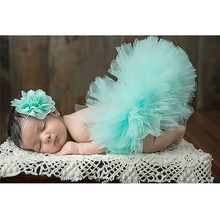 6 Colors Newborn Photography Props Baby Girl Skirt Bowknot Baby Tutu Skirt Tulle Baby Photo Props for 3-4 Months