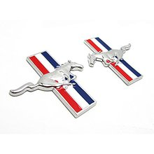 2pcs Sets Mustang Running Horse Fender Side Sticker Car Emblem Badge For Ford Mustang Shelby()