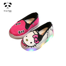 Hello Kitty Light up Dress Girls Shoes Toddler Baby Girl Casual Canvas Shoes Glowing Sneakers Little Kids LED Shoes for Boys(China)