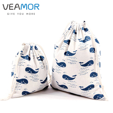 VEAMOR Candy Gift Bags for Children Cotton Drawstring Bags Whale Printed Small Gift Storage Bags 3pcs/set WB287(China)