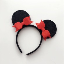 Fashion Mickey Minnie Mouse Ears hair accessories  Non-Woven Felt Fabric bow headband for kids birthdays gift