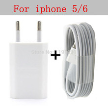 SZHXNOR EU Plug Travel USB Wall Charger for Apple iPhone 5 5s 6 6s 7 plus ipod + 8 pin Data Sync USB cable wire For IOS 9/10
