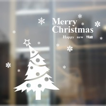 * Merry Christmas tree snow PVC Wall Stickers glass DIY Wall Art living room coffee shop Sofa TV Backdrop Background waterproof
