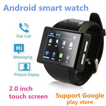 New Black AN1 Android 4.1 Smart Watch Phone Dual Core 2.0 Inch Touch Screen Watch Mobile Phone 2.0 MP camera WiFi FM GPS colck(China)