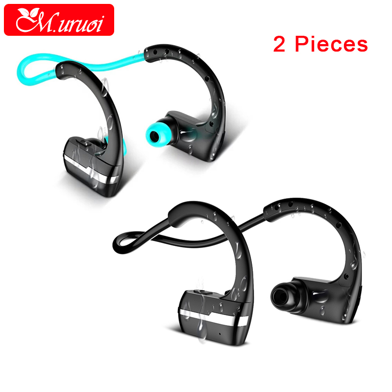 M.uruoi 1 Combo (2 pieces) Sport Headset Wireless Bluetooth Earphone Headphone Waterproof Kulakl k For iPhone Samsung Xiaomi<br>