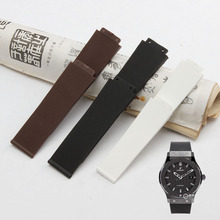 High quality Sillicone Rubber Watchband Black White Brown Durable Waterproof Strap 26*19mm 21*19mm Convex Mouth for HB Watches(China)