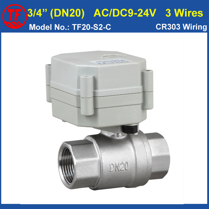 2-Way  Stainless Steel BSP/NPT 3/4 (DN20) Motorized Valve AC/DC9-24V 3 Wires (CR303 Wiring) High Quality Metal Gear CE/IP67<br><br>Aliexpress