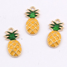HAEQIS Alloy Gold Color Pineapple Shape Enamel Fruit Charms 10*25mm 50pcs AAC1229