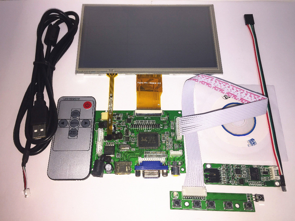 7 inch LCD Panel Digital LCD Screen + Touch screen and Drive Board(HDMI+VGA+2AV) for Raspberry PI Pcduino Cubieboard(1024*600)<br>