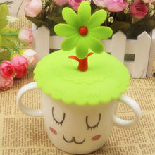 Cute Anti-dust Silicone Glass Cup Cover Coffee Mug Suction Seal Lid Cap Silicone Airtight Love Spoon Novelty