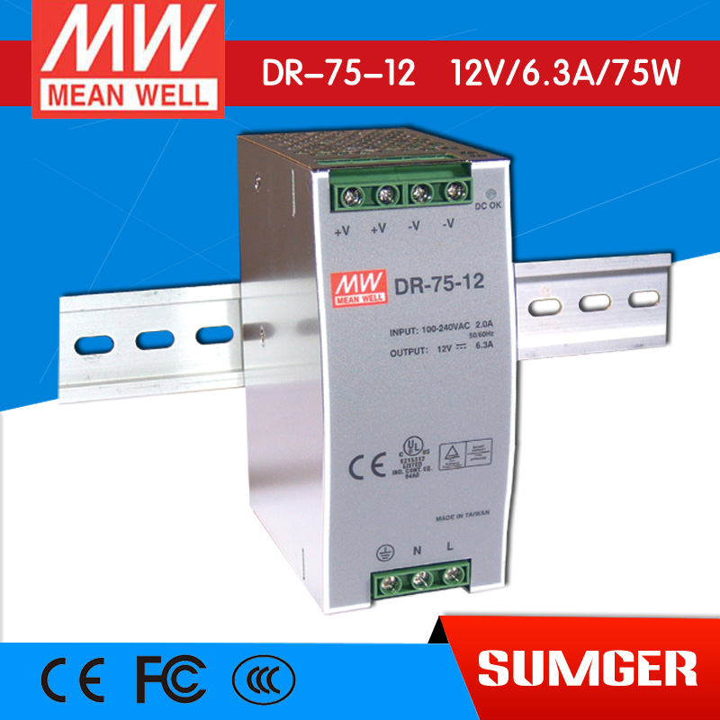 [SumgerT2] MEAN WELL original DR-75-12 12V 6.3A meanwell DR-75 12V 76W Single Output Industrial DIN Rail Power Supply<br><br>Aliexpress