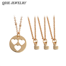 QIHE JEWELRY 4pcs/set Heart Cut Out Mother Daughter Necklace Set Generations Mommy and Me Jewelry Mothers Day From Daughter Gift(China)