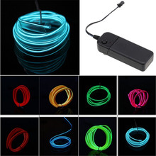 5M DIY Decoration Auto Car Interior EL Wire Rope Tube Neon Light Line Strip With Output Connector Modification Refit Red