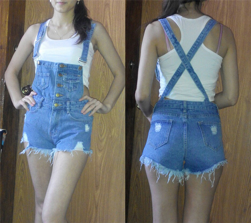 The new college wind denim strap shorts female summer hole loose Korean students was thin sling tide (29)