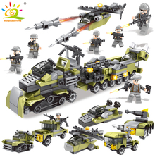 296PCS 6in1 Military Vehicle soldier set Building Blocks Compatible legoed city Army weapon DIY bricks Educational Children Toys(China)