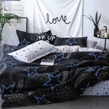 Home Textile Bedding Set King Bed Black Star Bed Cover Set Pastoral Style Bed sheet+duvet cover+pillowcase Bed Cover Linen Heart(China)
