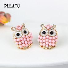High quality cute owl earrings for girls small animal candy color stud earrings women jewelry wholesale PULATU ED0262