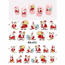 Nail Sticker WATER DECAL SLIDER MERRY XMAS CHRISTMAS SANTA CLAUSE SPORT CHIMNEY GIFTS BOX KIDS RA013-018