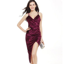 2017 Womens Cross irregularity Spaghetti Strap V-neck Swan Velvet sexy dress Women Slim party fashion Mid-Calf maxi summer dress