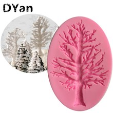 DIY Cake Border Silicone Molds Tree Cupcake Fondant Cake Decorating Tools Chocolate Gumpaste Moulds A1218
