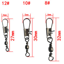 50pcs/lot Steel Interlock Snap Fishing Lure Tackle Ball Bearing Swivel Rolling Solid Rings Barbed Fishing Hook Connector
