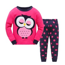 2017 Children Cartoon Pajamas Clothing Sets Girls Casual long-sleeved Blouse+pant two-piece Suit Set Boys Kids Sleepwear Sets(China)