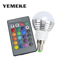RGB LED Bulbs tubes E27 E14 3W LED Lamp Light Led Spotlight Spot light Bulb 16 Color Change Dimmable +24Keys Remote Controller(China)