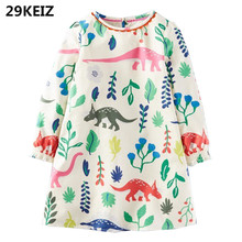 29KEIZ Cute Dinosaurs Printed Girl Dresses 2017 Brand Autumn Girls Baby Princess Dress Full Sleeve Cotton Robe Children Clothing