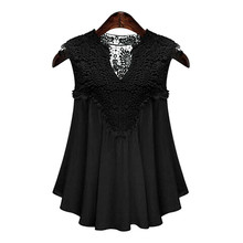 Cheap Price Sale Summer Wear Clothing Black Women Sexy Lace Blouses V-neck Shirts Chiffon Sleeveless Top Lace