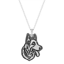 QIAMNI Handmade Cute German Shepherd Face Puppy Pet Lovers Animal Unique Necklaces & Pendants Gift for Women and Girls