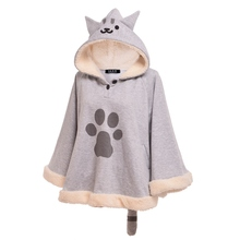 Cute Girls Cat Hood Cloak with Tail Gray Cartoon Neko Atsume Cartoon Cape Outwear(China)