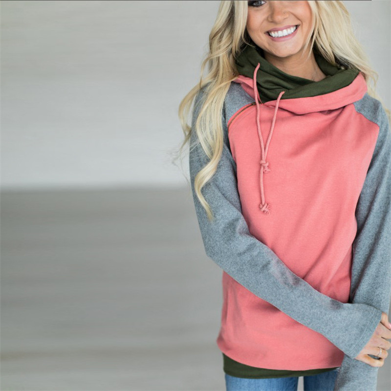 New Double Hood Sweatshirt, Women's Long Sleeve, Side Zipper Hooded Casual Pullover 30