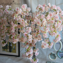 7pcs/lot Natural vertical silk cherry blossom for wedding decoration DIY Cherry trees artificial flower bouquet big size(China)
